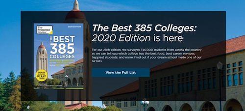 2020《普林斯顿评论》最佳大学排名&专业发布!学术、食堂、宿舍···